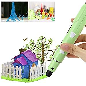 iEGrow 3D Printing Pen 3rd Generation 3Doodler for 3D Drawing, Modeling, Arts, Crafts Printing with 1.75mm ABS/PLA Printer Filament (Green)