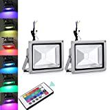2Pcs 20W RGB IP65 Spotlight Lamp Outdoor LED Floodlights IR Remote Control