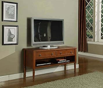 Kings Brand Walnut Finish Wood Plasma TV Console Stand Entertainment Center With Drawers