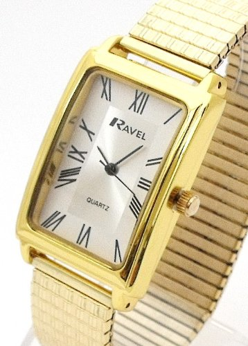 Mens/Gents Gold Roman Numerals Expanding/Expander/Expansion Bracelet Band Watch (R0303.06.1)
