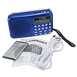 CAMTOA Pro T508 Mini LED Stereo FM Radio Speaker USB TF Micro SD Card MP3 Music Player Blue