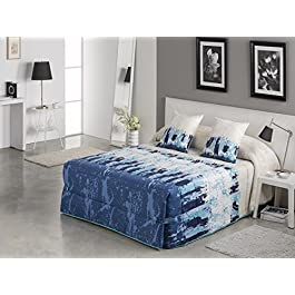 Textilhome - Colcha Conforter SUNSET 105 cm. Color Azul