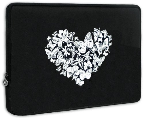 13 inch White on Dark Love Heart Butterly Laptop Sleeve Computer Notebook Carrying Occurrence for Apple MacBook Air 13, Dell, Acer, Samsung