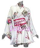 ドレス着物ドレスミニドレスフレアー型セクシーミニ浴衣としても!Aラインイベントコスプレダンス祭ヨサコイソーランショーホワイトピンクブラックレッドブルーSeduce20070729(ホワイト)