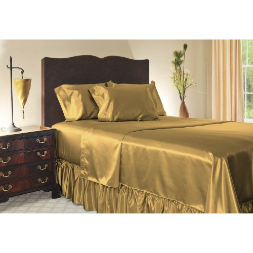 Luxury Queen Size Satin Flat Sheet - Gold front-316579