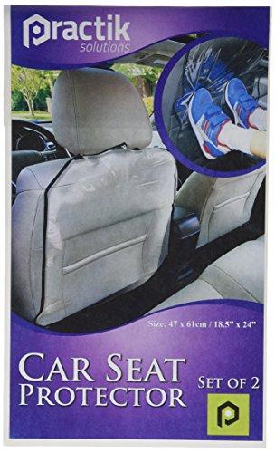 PRACTIK Plastic Kick Mats/Car Auto Seat Back Protector (2-Pack) - 1