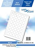 LabelOcean LO-0040-e-70, 4000 Etiketten 30mm rund = 100 Blatt DIN A4, 70g/qm, geeignet für Inkjetdrucker-, Laserdrucker und Kopierer.