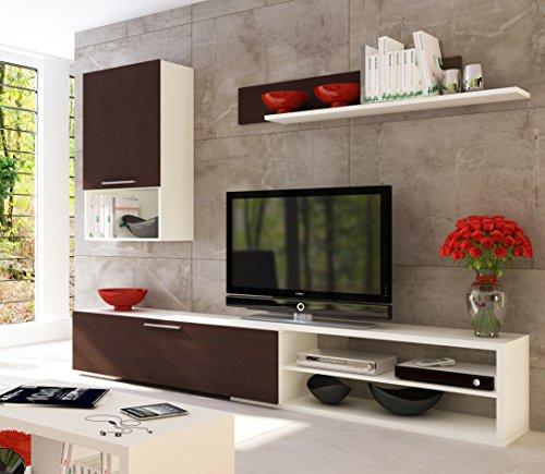 Conjunto de muebles para sal n o comedor en blanco y for Mueble compacto tv