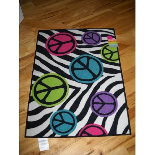 Girls Bedroom Decor Peace Signs with Zebra Stripe Throw Rug ...