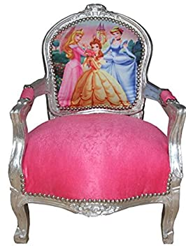 Casa Padrino Baroque Salon Chair Pink / Silver Princess Chair - Armchair