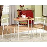 Bistro Set - 3 Piece - For Small Space in Kitchen, Dining Room, Recreation Room, Patio or Deck. This Furniture Piece is Beautiful White and Natural and Will Match Your Decor in Your Home, Apartment, Cabin, Cottage, or Lake Place.
