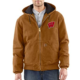 NCAA Wisconsin Badgers Mens Quilted Flannel Lined Sandstone Active Jacket by Carhartt