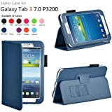 iZKA® - Samsung Galaxy TAB 3 7.0 - (Dark Blue) Leather Case Cover and Flip Stand Typing Case Wallet Plus Free iZKA® Gift: ProPen Stylus Pen (Touch-Screen Pen) ~ Works With Tab 3 7.0 P3200 / P3210