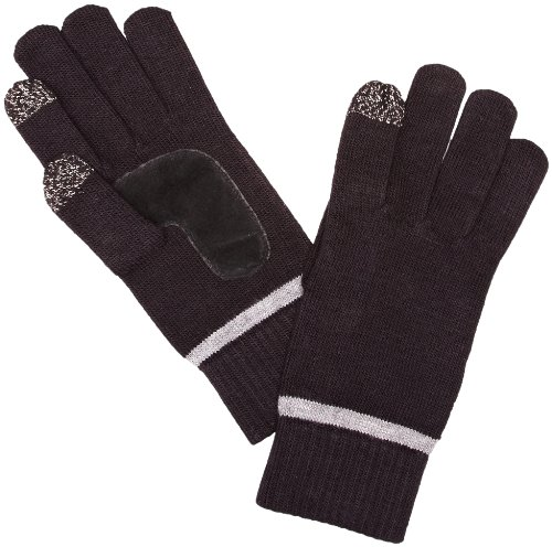Isotoner Smartouch Plain And Stripe Cuff Knitted Men's Gloves Black With Charcoal One Size images