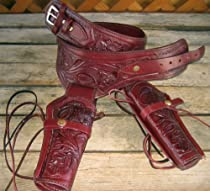 NEW Burgundy Genuine Leather Double Western Holster Cowboy Rig. In 38/357 LC ammo loops By GUNS4US***