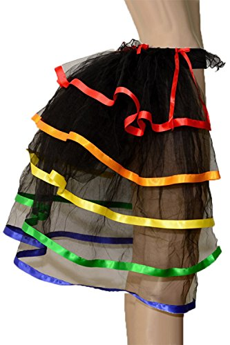 5 Tiered Half Burlesque Bustle Party Tutu Tail Skirt Fancy Dress Ribbon Trim