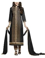 Shanvi Women's Faux Cotton Unstiched Party Wear Middle Slit Pant Style Suit, Black Colour