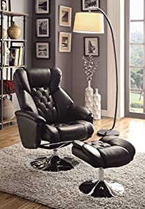 Homelegance 8548BLK-1 Swivel Reclining Chair with Ottoman, Black Bonded Leather Match