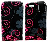 MobileExplosion Black Floral Leather Magnetic Flip Protection Case Cover For - Motorola Motoluxe Xt389