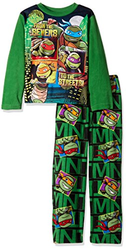Nickelodeon Boys' Little Boys' Teenage Mutant Ninja 2-Piece Fleece Pajama Set, Turtle Green, 4 (Ninja Turtles Pajamas Set compare prices)