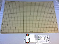Battle Grid Game Mat, Dry Erase, Sandstone, 24 X 36 with 3 Markers and Eraser- Double-Sided, 1 sq