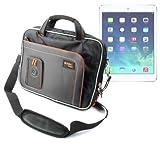 DURAGADGET Maletín Negro y Naranja Con Bandolera Ajustable Para El Nuevo Apple iPad Air Wi-Fi + Cellular Gris Espacial y Plata 16GB 32GB 64GB 128GB