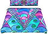 "Kess InHouse Rosie Brown ""Gatsby Inspired"" Blue Pink 104 by 88-Inch Cotton Duvet Cover, King"