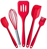 StarPack Premium Silicone Utensil Set (5 Piece) in Hygienic Solid Coating - Bonus 101 Cooking Tips