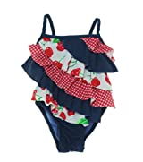 Flapdoodles Toddler Girls Cherry Ruffle One Piece Suit