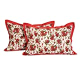 Swayam Drape And Dream Printed Cotton 2 Piece Pillow Cover Set - Red (PC02-6904 )
