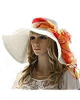 Luxury Lane Women's White Floppy Paper Straw Sun Hat with Removable Orange Scarf