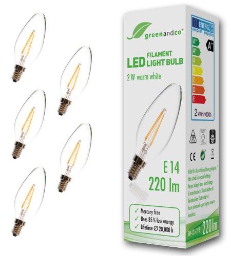 5er Pack greenandco� E14 Gl�hfaden LED Kerze 2W