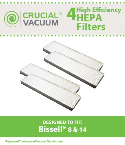 4 Bissell Style 8 & 14 Lift-Off Bagless HEPA Filter, Compare to Bissell Part# 3091, 2036608, 203-6608 , Designed & Engineered by Crucial Vacuum (8 Hepa Filter compare prices)