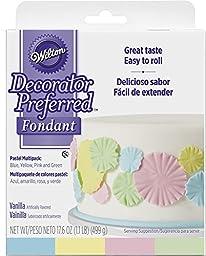 Wilton Decorator Preferred Fondant, Assorted, 4-Pack, Pastel Colors
