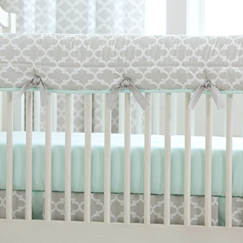 Carousel-Designs-French-Gray-and-Mint-Quatrefoil-Crib-Rail-Cover