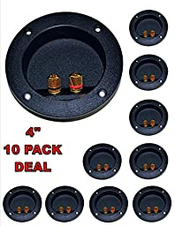10 PACK SPEAKER ROUND DJ BOX TERMINAL CUP GOLD POST SUBWOOFER CABINET ENCLOSURE
