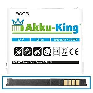 Akku-King Akku für HTC A8181, Bravo, Desire, Dragon, Zoom 2, Google Nexus One, G5, N1 - ersetzt BA S410, BB99100 - Li-Ion 1600mAh