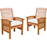Walker Edison Acacia Wood Dining Chairs, Set of 2 with Cushions