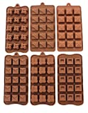 Anfimu Non-stick Silicone Square Chocolate Candy Pastry Making Mold Ice Cube Tray Set of 6