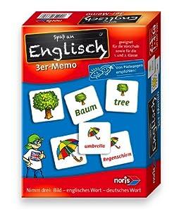 Noris Spiele 606073380 - Englisch 3er Memo, Kinderspiel