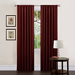Triangle Home Fashions 18917 Lush Decor 84-Inch Luis Curtain Panels, Red, Set of 2