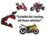 #1 Motorcycle Lock - A Grip / Throttle / Brake / Handlebar Lock to Secure a Bike, Scooter, Moped or ATV in Under 5 Seconds! From BigPantha! (Red)