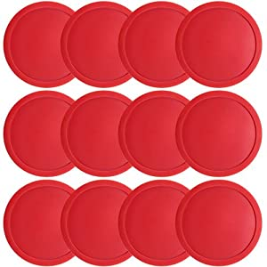 One Dozen Large 3 1 4 inch Red Air Hockey Pucks for Full-Size Air Hockey Tables by... by Brybelly