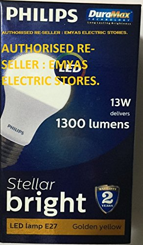 Philips Stellar Bright E27 13W 1300 Lumens LED Bulb (Warm White, Pack of 11)