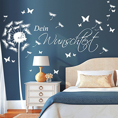 wandtattoo loft pusteblume schmetterling mit ihrem wunschtext bis zu 15 w rter frei w hlbar. Black Bedroom Furniture Sets. Home Design Ideas