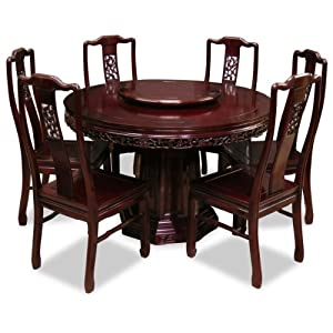 Hand Crafted 48in Flower And Birds Design Rosewood Round Dining