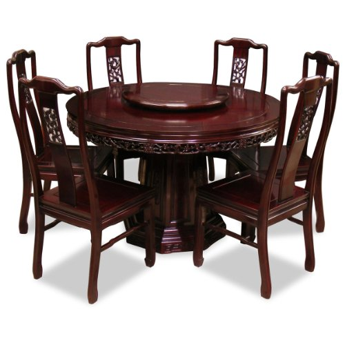 Traditional Cherry Casual Carved Design Dining Room Round: ROUND DINING TABLE FOR 6