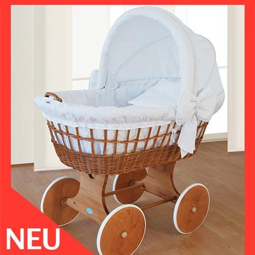 WALDIN Stubenwagen Bollerwagen XXL 110x70 Weiss