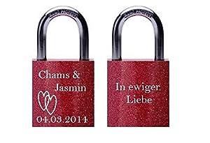 Remmo&Love Liebesschloss mit 2 Schlüsseln und Gravur