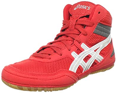 ASICS Little Kid/Big Kid Gel-Matflex GS 3 Wrestling Shoe,Red/Silver/Charcoal,1.5 M US Little Kid
